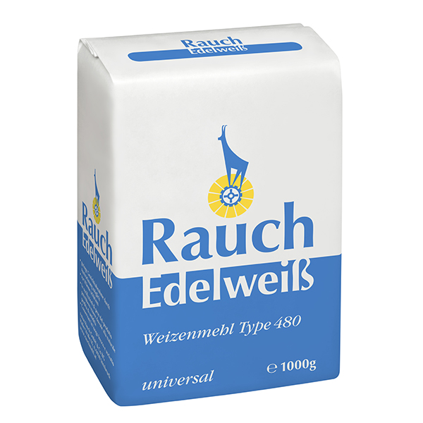 Weizenmehl Type 480 universal 1000 g - Körnung zwischen glatt und griffig - Unsere Mehle / Rauchmühle / Rauchmehl. Für alle Anwendungen.