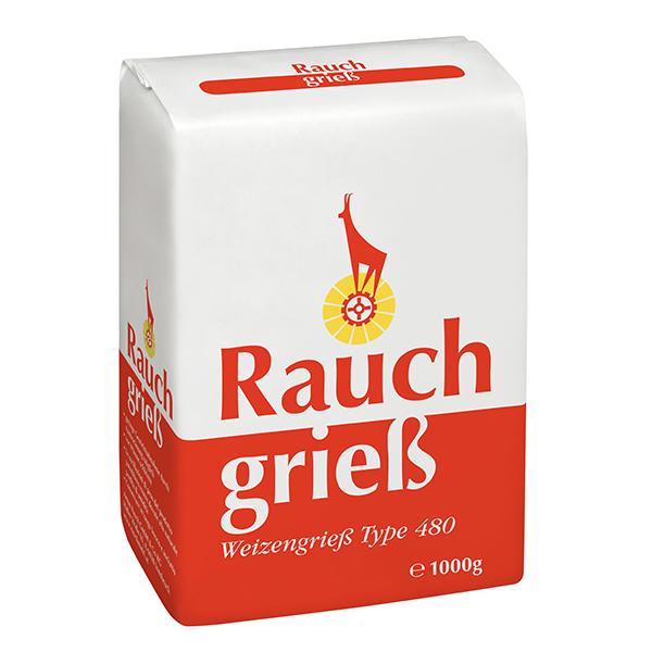 Weizengrieß Type 480 1000 g - rot - Unsere Mehle / Rauchmühle / Rauchmehl. Für Grießspeisen, Suppeneinlagen, Pudding und zur Lockerung von Kartoffelteigen.
